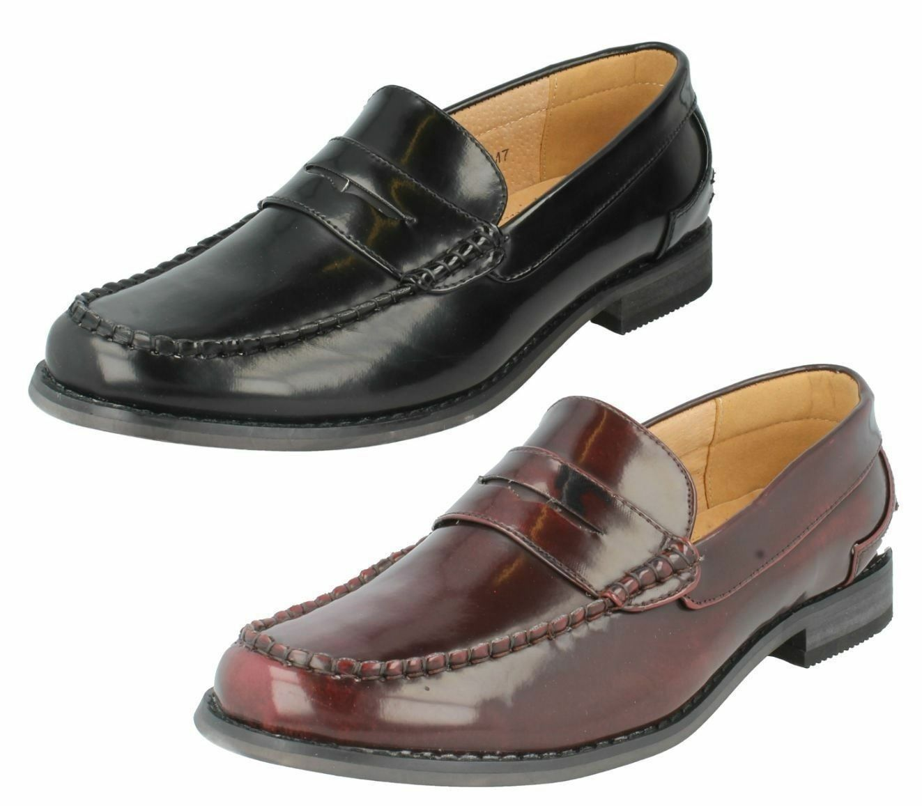 Mens A1118 moccasins hi shine Black or Burgundy moccasins A1118 shoes by MAVERICK 6067cb