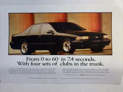 """Impala SS Advertising Large Print 24""""x36"""". """"From 0 To 60 In 7.4 Seconds ..."""""""