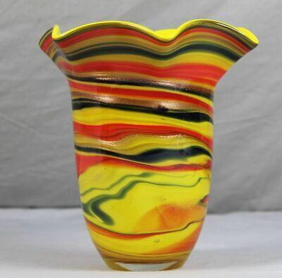 Offen ältere Glas Vase - Hauptfarbe Gelb , Dickes Glas - Wellenform - Ca. 1,3 Kg. /162 Gesundheit FöRdern Und Krankheiten Heilen