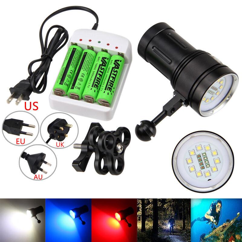 Fotografie Video 10x L2+4xRot+4xBlau LED Tauche Tauchlampe Licht mit Montieren