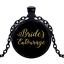 Vintage Brides Entourage Black Cabochon Glass Necklace chain Pendant