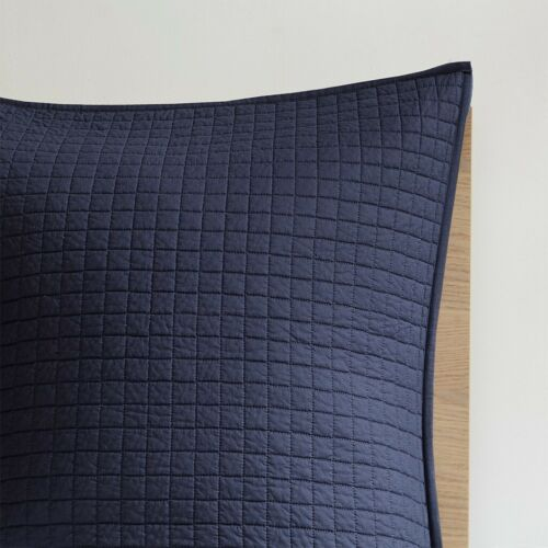 TUFTED COTTON BROOKLYN NAVY BLUE DOTS Queen King or Cal King COMFORTER SET