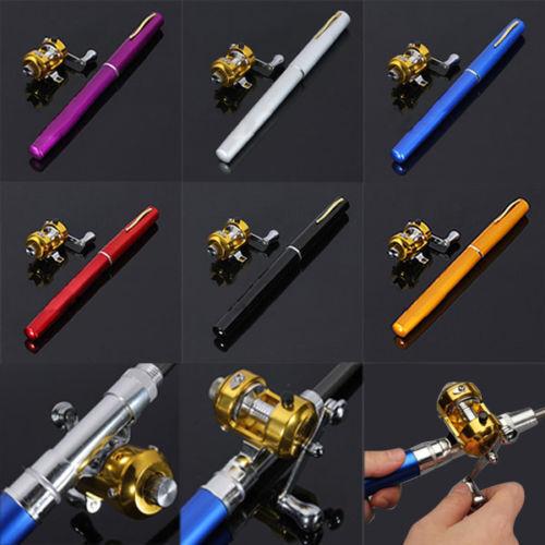 1m Mini Portable Pocket Fish Pen Shape Aluminum Alloy Fishing Rod Pole Reel