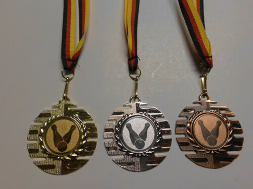 Kegeln Pokal Medaillen 3er Set 50mm mit Medaillen-Band Turnier Emblem e237 Pokale & Preise