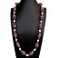 """thumbnail 3 - Red Agate Black Rhinestone Pave Cultured White Rice Pearl Necklace 32"""""""
