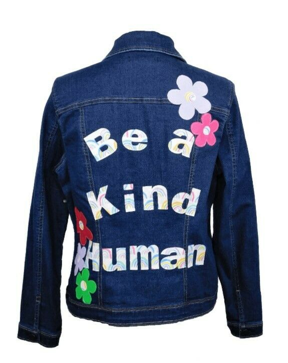 Be A Kind Human Patches Flowers Upcycled Denim Jacket L New