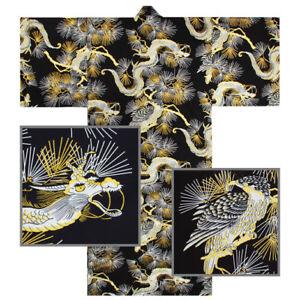 Japanese-Kimono-Yukata-Sash-Belt-Robe-Men-61-034-Cotton-Falcon-Dragon-Made-in-Japan