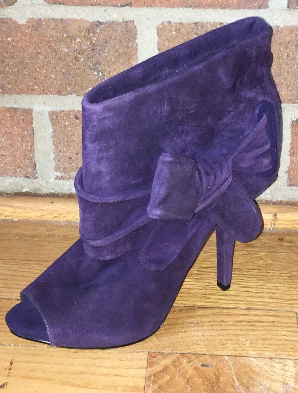 RACHEL Rachel Roy Suede Leather Open Toe Bow Booties Boots Purple 7.5M