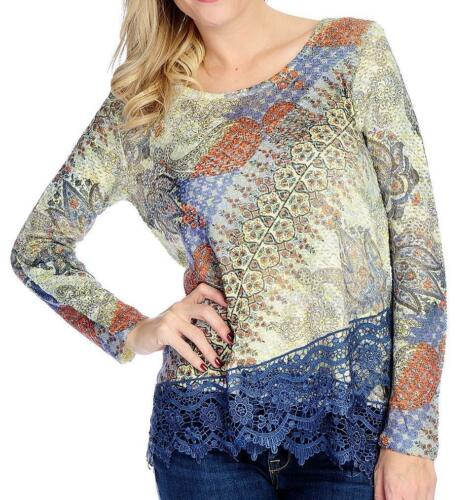 One World Printed Knit Long Sleeve Lace Trimmed Asymmetrical Top Sz M NEW