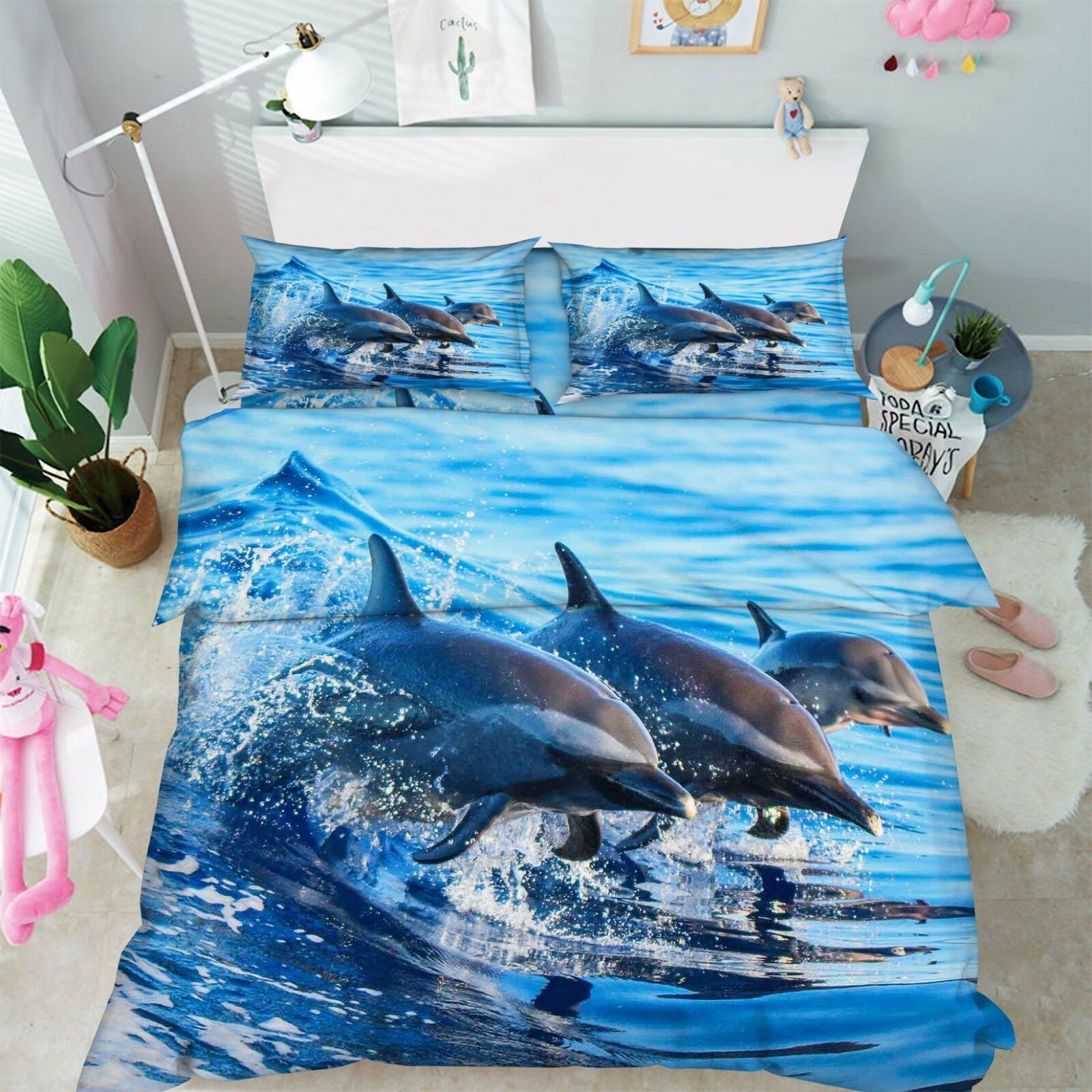 3D Three Dolphins 7 Bed Pillowcases Quilt Duvet Cover Set Single Queen AU Lemon