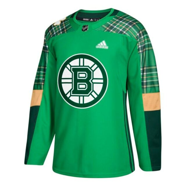 new styles 01a6f 38b74 Boston Bruins NHL Adidas Men's Green St. Patrick's Day Authentic Practice  Jersey
