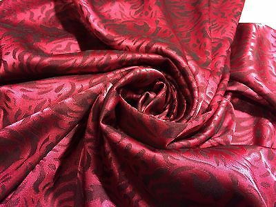 """Black/Red Two Tone Poly Rayon Floral Brocade Satin Fabric 58"""" Wide By The Yard"""