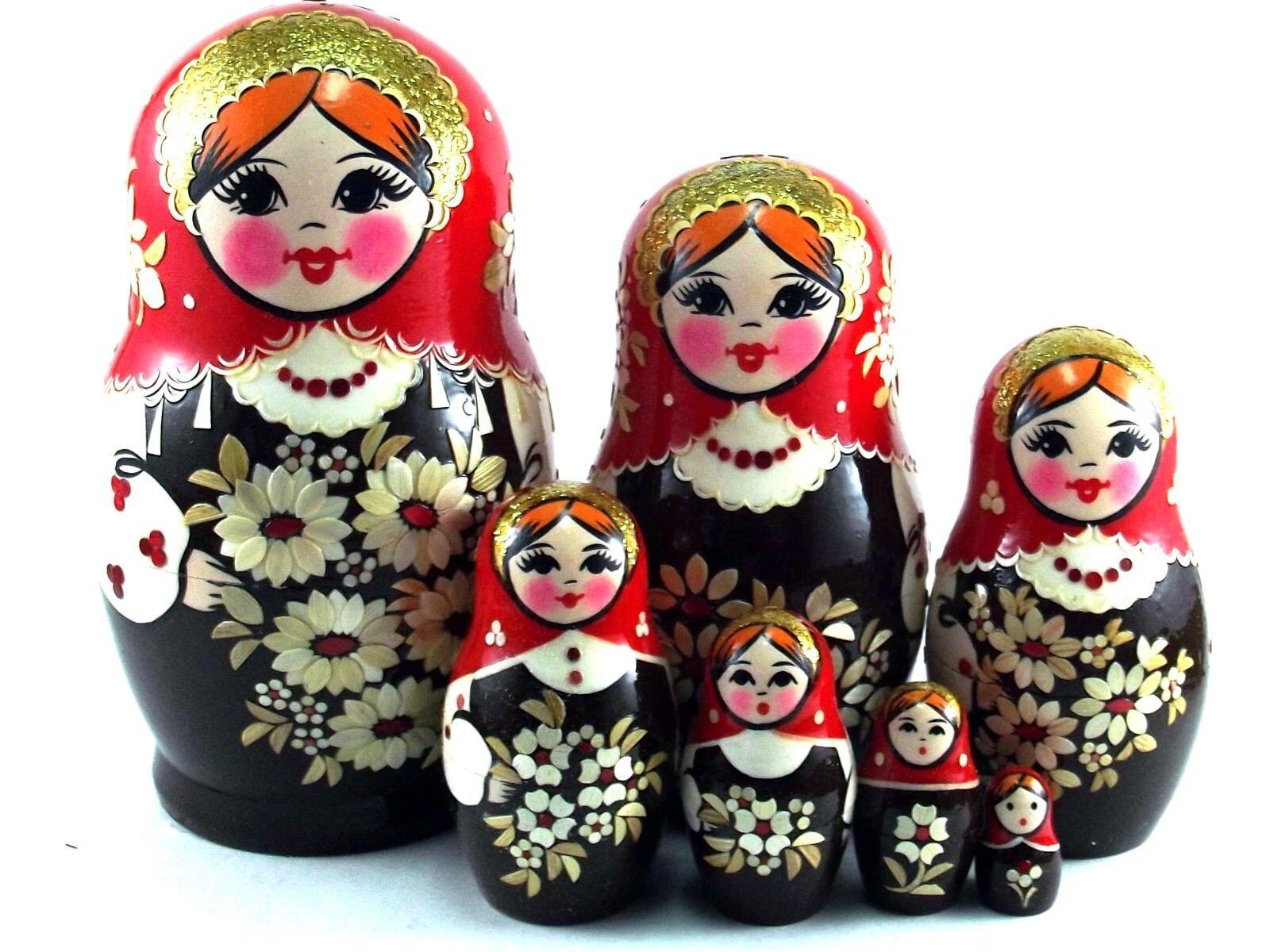 MATRIOSKA BAMBOLA Baautobuschka cioé russa legno  bambole inkrustation 7 pezzi  ottima selezione e consegna rapida