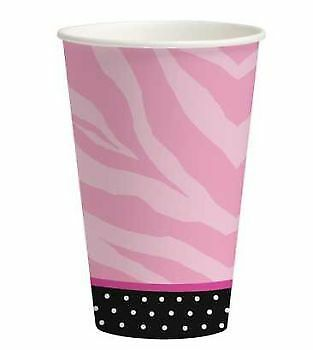 Sweet 16th Birthday Hot Pink Zebra Print 12oz Paper Cups 8 Per Pack