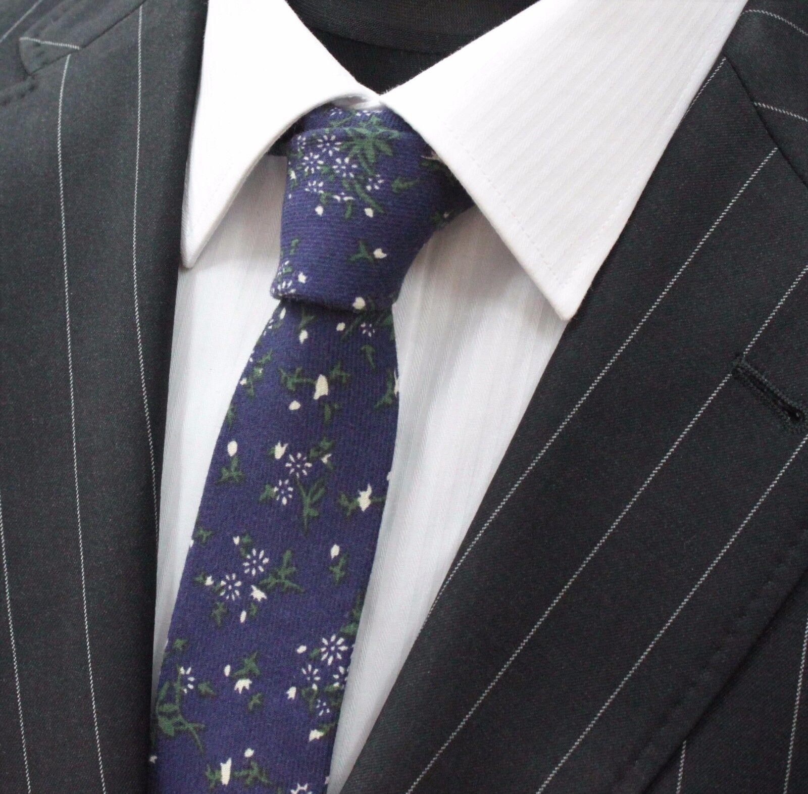 Tie Neck tie Slim Dark Blue with White / Green Floral Quality Cotton UT011