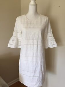 80d49250063 NEW J.Crew Eyelet Flutter Sleeve Cotton Shift Dress G1269 Size 0 ...
