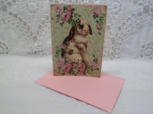 Klappkarte-Geschenkkarte-Grußkarte-Vintage-Retro-Shabby-French-Ostern-Hase-10022