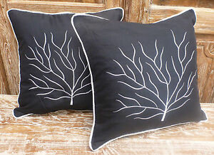 Cotton-Cushion-Covers-Black-White-Hand-Made-Tree-Embroidery-pair-40cm