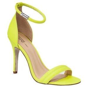 PRABAL GURUNG TARGET Neon Lime Green Ankle Strap Heels 8 Women&amp