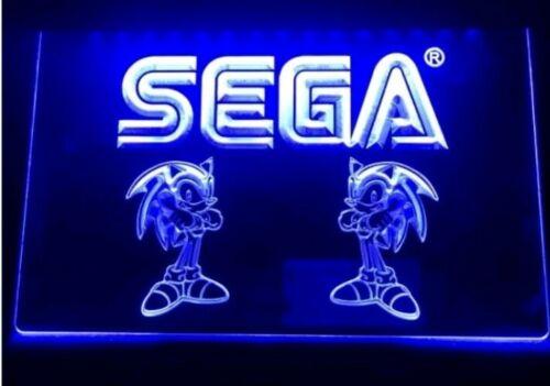 Sega Sonic Blue Neon LED Light Sign Bar Pub Man Cave Game Room USB powered