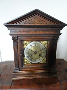 Antique Edwardian Carved Pine Cased Architectural Mantel Clock (Key Pendulum)