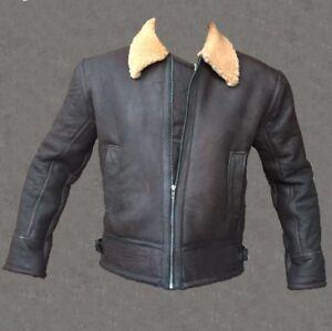 Details about Mens Aviator RAF B3 Ginger Shearling Real Sheepskin Leather Bomber Flying Jacket