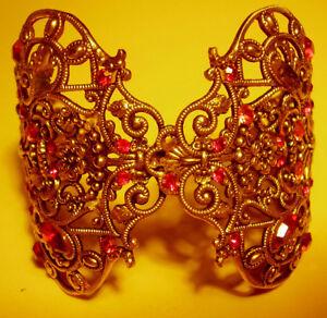 89 / Bracelet Manchette Metal Dore Et Strass Roses Lsnfn46j-10110040-338326949