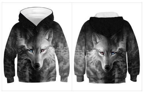 Wolf Galaxy 3D Print Kids Boys//Girl Hoodies Sweatshirt Pullover Jumper Coat Xmas