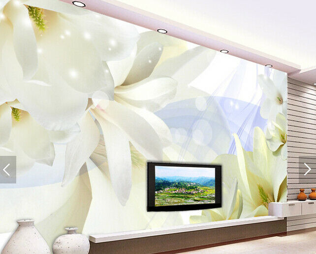 3D White Flower 641 Wallpaper Murals Wall Print Wallpaper Mural AJ WALL AU Kyra