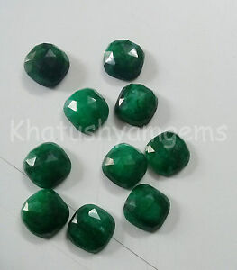 AAA-Quality-10-Pieces-Emerald-10x10-mm-Cushion-Rose-Cut-Loose-Gemstone