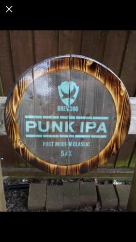 Brew Dog Punk round plaque wooden sign man cave shed bar pub
