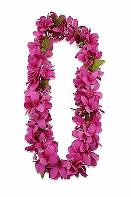 Hawaiian Lei Party Luau Floral Silk Fabric Plumeria Flower Dance Hawaii Pink