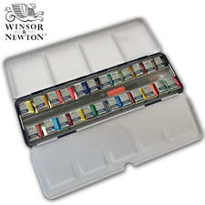 100%Geninue Winsor&Newton Cotman Aquarelle 24 Half Pans Watercolor Metal Box Set