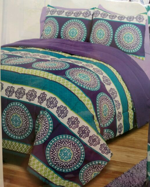 3 Piece Reversible Comforter Set Full 2 Shams Purple Lime Green Turquoise Blue