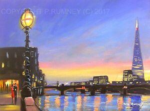 PETE-RUMNEY-FINE-ART-BUY-ORIGINAL-PAINTING-CANVAS-WALL-PICTURE-LONDON-LIGHTS