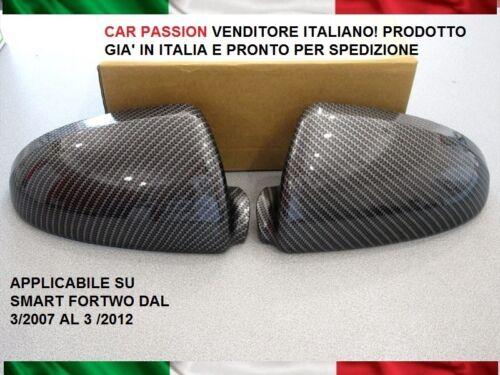 CALOTTE SPECCHIO SMART FORTWO EFFETTO CARBONIO retrovisori DOOR MIRROR COVER