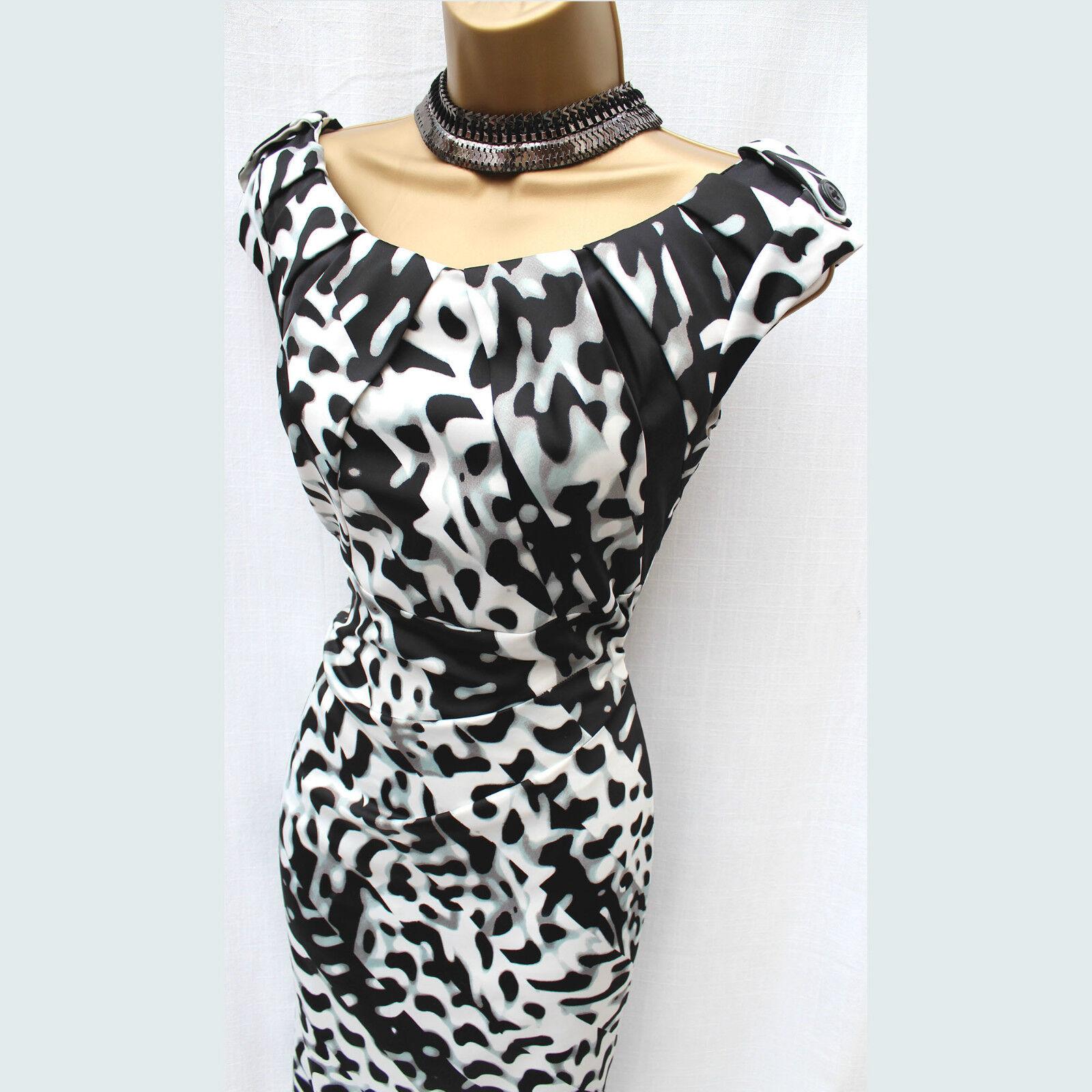 Größe 10 UK Exquisite KAREN MILLEN schwarz Weiß Animal Print Cocktail Pencil Dress