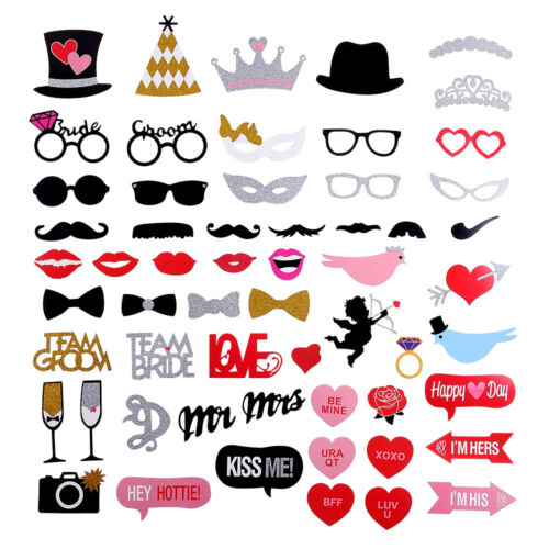 58pcs Party Props Photo Booth Moustache Birthday Engagement Wedding Funny