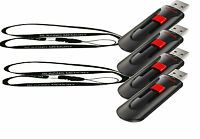 Lot Of 4 Sandisk 16gb Cruzer Glide Usb Flash Pen Drive +2 Lanyards 64gb Total