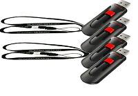 Lot Of 4 Sandisk 64gb Cruzer Glide Usb Pen Flash Drive +2 Lanyards 256gb Total
