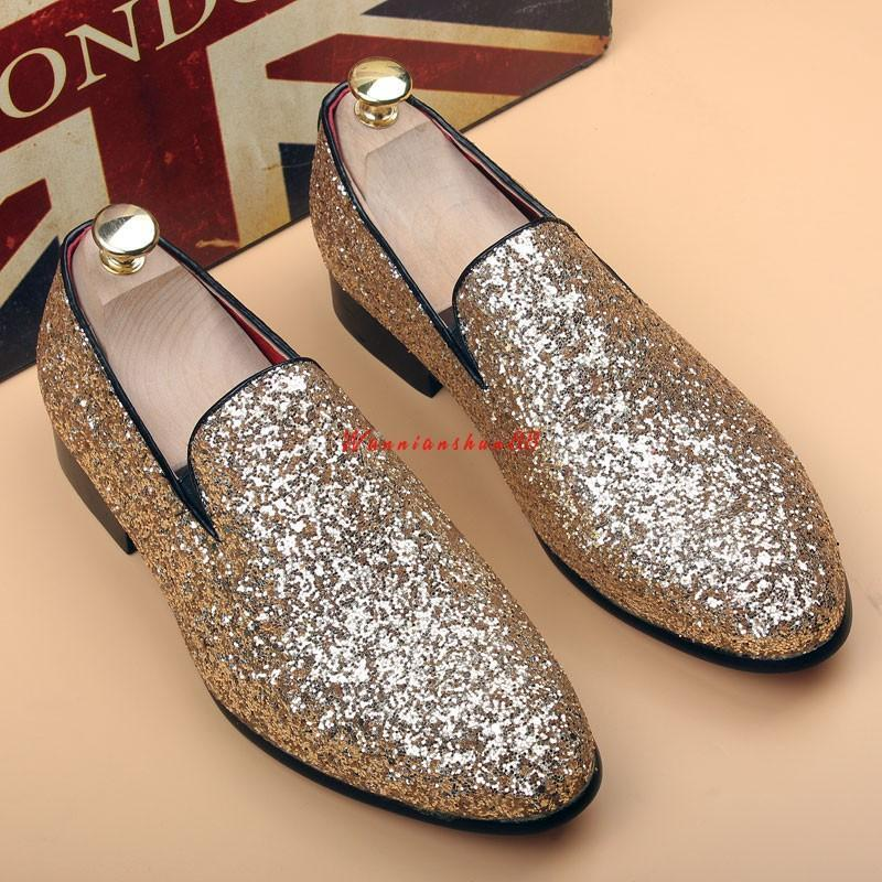 Mens Sequin Dress shoes Slip on Loafers Silver Sequin Casual oxford shoes Sz