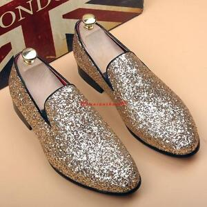 Mens Sequin Dress Shoes Slip on Loafers