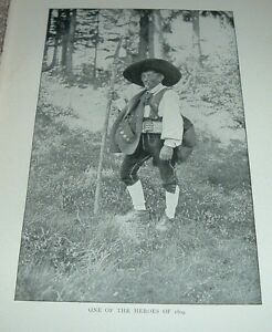 1903-Antique-Print-ONE-OF-THE-HEROES-South-Tyrol-Italy-Man-with-Axe