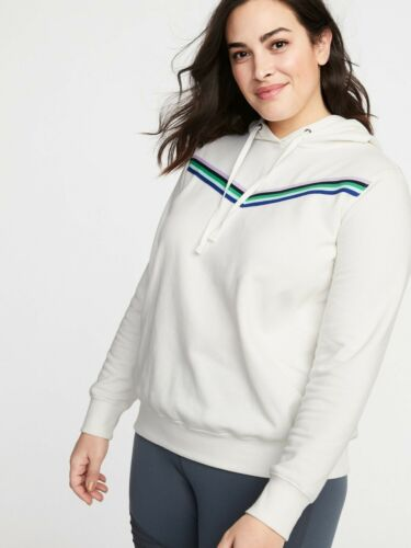 Old Navy Women/'s Plus Ivory Chevron Stripe French Terry Hoodie Sweatshirt 3X
