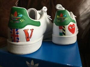 new styles 7ec25 051f5 Image is loading Adidas-Stan-Smith-Green-And-White-Custom-Size-