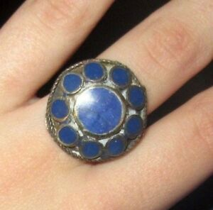Ring-Circle-Gemstone-Afghan-Kuchi-Tribal-Alpaca-Silver-Size-10-to-11