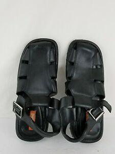 Unlisted men's sandals size 12 black color leather upper rubber sole