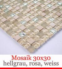 HOCHWERTIGE 30x30 cm GLAS + MARMOR NATURSTEIN MOSAIK FLIESEN 15x15mm STEINE BO-4