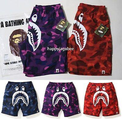 A BATHING APE Men/'s COLOR CAMO SIDE SHARK BEACH PANTS Shorts 4color Japan New