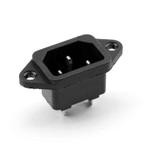 5Stk IEC320 C14 3 Pin Screw Mount Male Power Socket 250V 10A Für Boat AC-04 AH